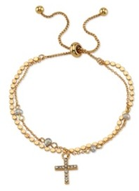 Unwritten Gratitude & Grace Gold Flash Plated Crystal and Pearl Cross Adjustable Bolo Bracelet