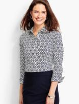 Talbots The Perfect Three-Quarter-Sleeve Shirt-Knot Print