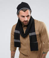 Timberland Ribbed Scarf & Beanie Gift Set in Black/Gray