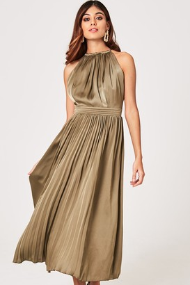 Little Mistress Laurie Khaki Satin Halter Pleated Midaxi Dress