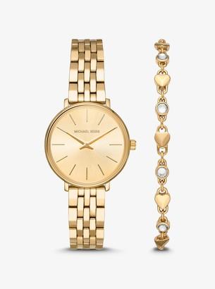 Michael Kors Mini Pyper Gold-Tone Watch and Heart Link Bracelet Set