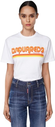 DSQUARED2 OVERSIZE LOGO COTTON JERSEY T-SHIRT