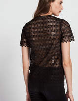 Lace top with low neckline