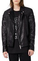 Topman Men's Quilted Leather Biker Jacket