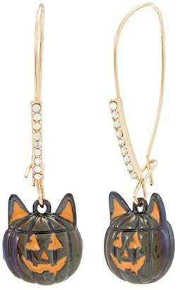 Betsey Johnson Cat Pumpkin Shepherd's Hook Earrings (Oil Slick) Earring