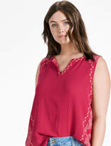 Lucky Brand Embroidered Woven Mix Tank