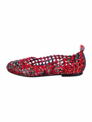 Hermes Minorque Monderisme Tropical Silk Ballet Flats Red