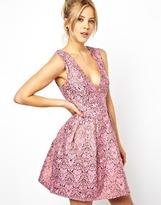 Asos Embellished Jacqaurd Tulip Dress - Pink