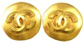 Chanel CC Logos Button Gold Tone Earrings
