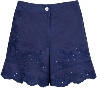 Juliet Dunn Embroidered Washed Cotton High-Rise Shorts