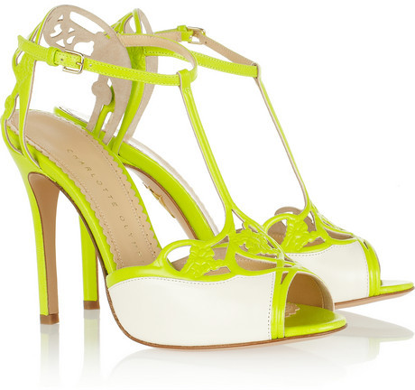 Charlotte Olympia Tiffany neon leather sandals