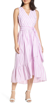 J.Crew Women's Casual Dresses FLO - White Sun & Peony Stripe Ginger Poplin Surplice Dress - Women