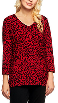 Bright Red Leopard V-Neck Sweater