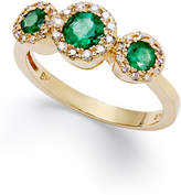 Effy Brasilica by Emerald (5/8 ct. t.w.) and Diamond (1/6 ct. t.w.) Three-Stone Ring in 14k Gold, Created for Macy's