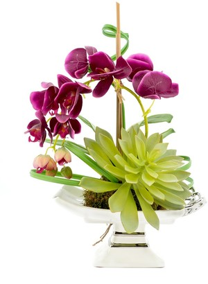 Creative Displays Purple Orchid And Cactus On Silver/White Pedestal Dish