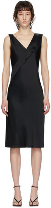 Helmut Lang Black Double Satin Sash Dress