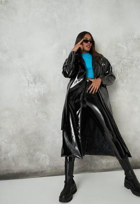 Missguided Black Vinyl Maxi Trench Coat