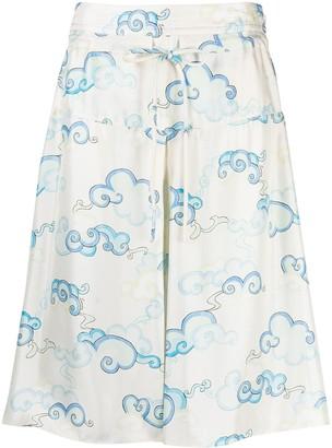 Lanvin Cloud Print Fluid Shorts