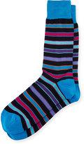 Bugatchi Striped Cotton-Blend Socks, Midnight