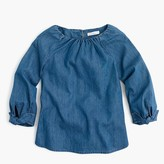 J.Crew Girls' tie-sleeve top in chambray