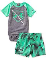 Under Armour Baby Boys Newborn-12 Months Breaking Bat Raglan Sleeve Bodysuit & Printed Shorts Set