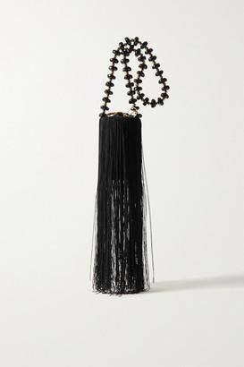VANINA Weeping Soil Fringed Satin Shoulder Bag - Black