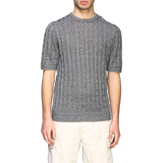 Eleventy Platinum Crewneck Sweater In Cotton And Linen With Faded Braid
