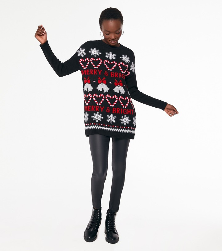 Thumbnail for your product : New Look Fair Isle Merry Logo Long Christmas Jumper