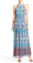 Eliza J Print Chiffon Maxi Dress (Regular & Petite)