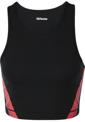 All Access Stevie Cutout Striped Stretch Sports Bra - Black