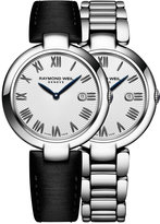 Raymond Weil Women's Swiss Shine Black Satin Strap Watch & Interchangeable Stainless Steel Bracelet 32mm 1600-ST-00659