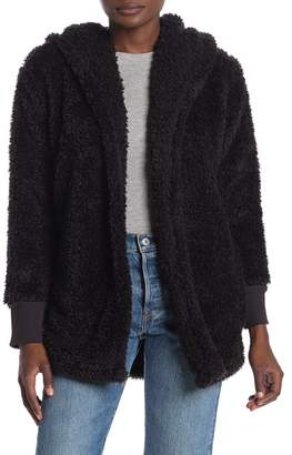 Free Press Cozy Up Faux Shearling Hooded Cardigan