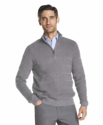 Izod Men's Tonal 1/4 Zip Sweater -Lt Grey Heather XX-Large