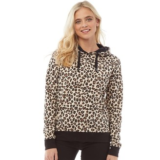 Fluid Womens Leopard Print Hoodie Brown/Black