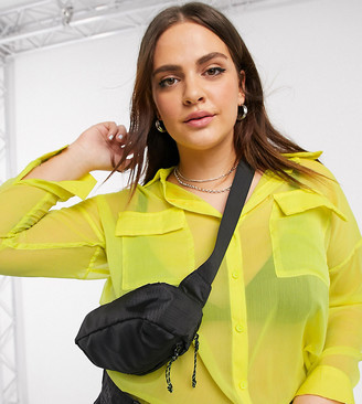 Noisy May Curve oversized sheer shirt in neon yellow