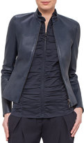 Akris Punto Fitted Stretch-Leather Jacket, Navy