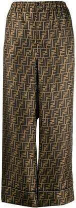 Fendi FF motif cropped trousers