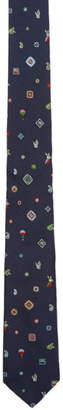 Etro Blue Silk Jacquard Graphic Tie