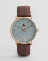 Asos Watch With Brown Leather Strap and Gray Face