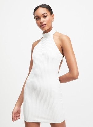 Miss Selfridge OH MY DAYS Ivory Halter Ribbed Dress
