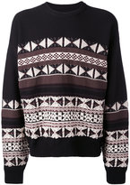 Maison Margiela patterned crew neck jumper - men - Cotton/Wool - S