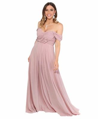 KRISP 4815-TAU-20: Cross Pleats Maxi Prom Dress
