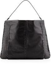 Bottega Veneta XL Frame-Top Leather Hobo Bag, Black