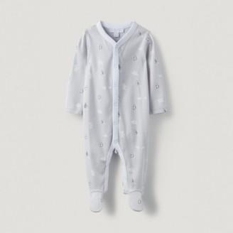 The White Company Organic Cotton Lumi Sleepsuit, White, 12-18mths