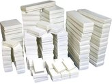 FindingKing 250 White Jewelry Display Cotton Boxes Gift Box Set