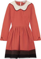 Fendi Cutout Color-block Wool And Silk-blend Mini Dress