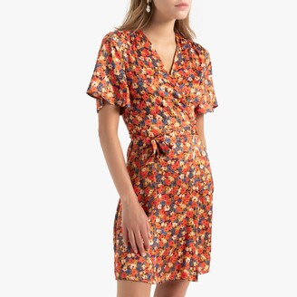 La Redoute Collections Short Wrapover Dress in Floral Print with Short Sleeves and Tie-Waist
