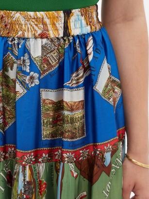 RIANNA + NINA Patchwork Vintage-silk Midi Skirt - Multi