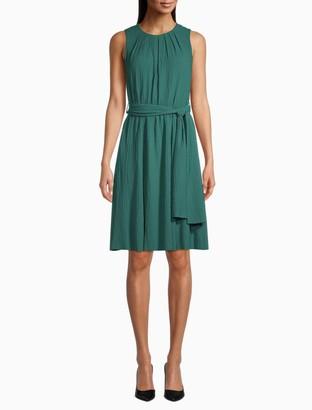 Calvin Klein Gauze Sleeveless Belted Dress