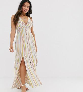 Asos DESIGN Petite button through halter neck maxi dress in stripe-Multi